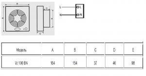 Вентилятор для санузла MEROX W 100 BN